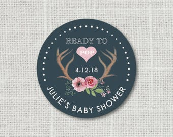 Baby Shower Stickers, Floral Baby Party Stickers, Deer Antler Baby Shower Stickers For Favors, Ready to Pop Baby Party Labels