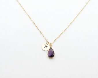 Amethyst Birthstone Pendent Initial Necklace, February Birthstone Necklace, Personalized Necklace, Bridesmaid Gift, Bridesmaid Jewelry