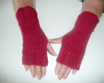 SALE: Hand Knit Fingerless Mittens/Gloves-Texting Gloves - Red Glitter Wrist Warmers- One Size Fits All