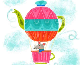 Teapot Air Balloon - Art Print 5x7, 8x10, 11x14