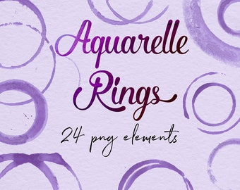 Aquarelle Rings Clipart, Purple Aquarelle Stains, Aquarelle Circles, Purple Logo Strokes, For Cards, Invitations, Logo Design, BUY3FOR6