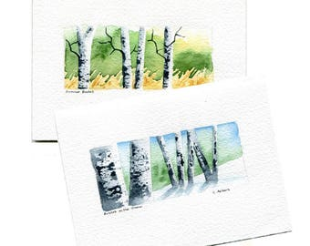 Two Original Hand Painted Landscape Art Cards - Birch Trees