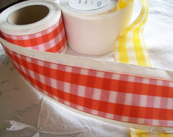 "2"" antique plaid ribbon in red tangerine or daffodil"