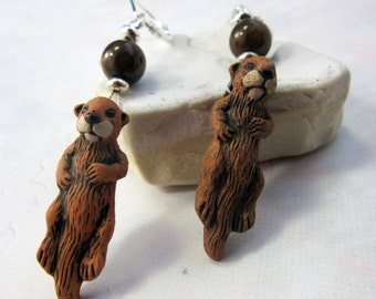Otter earrings - hand painted otter jewelry - sea otter earrings - You otter sea these earrings - abalone too - gwynstone handmade