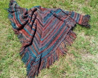 "Hand-crochet Shawl ""Verdigris"""
