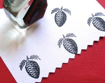 Pinecone Style 1 Rubber Stamp - Handmade rubber stamp by BlossomStamps