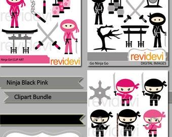 Ninja clipart sale / cute Ninja black pink clip art bundle - ninja boy girl - japanese martial art - digital images, commercial use
