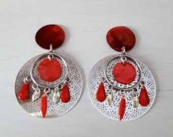 Red and silver dangling earrings