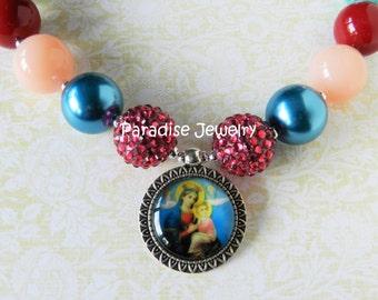 Our Lady of Perpetual Help Mother Mary Catholic Image Pendant Chunky Necklace ReligousJewelry Girls Jewelry Catholic Easter Basket