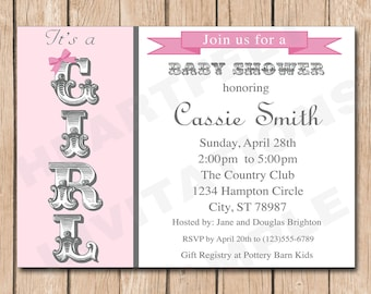 Fancy Girl Baby Shower Invitation | Shabby Chic - 1.00 each printed