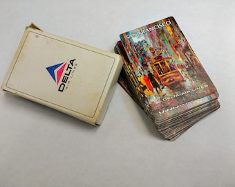 Vintage Lovely Delta Airlines Graphic San Francisco Playing Cards Complete Box