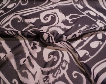 SPECIAL--Black and Ecru Large Paisley Print Stretch Silk Chiffon Fabric-BY THE Yard