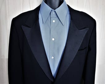 Pierre Cardin Tuxedo Jacket/ c. 1970's/ Men's Vintage Black Dinner Jacket/ Satin Lapels ZGfdCr