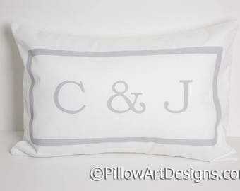 Initials Pillow Monogrammed Lumbar with Letters Personalized Initials Fully Lined Hand Painted Made in Canada