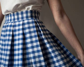 BLUE GINGHAM SKIRT / Pleated skirt / Cotton skirt / Light Blue gingham / Pin up skirt / Rockabilly skirt