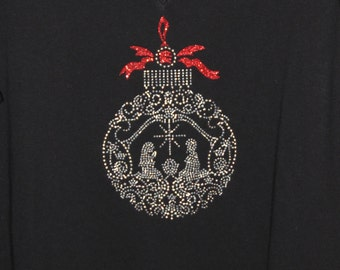 Manger Ornament Christmas Shirt in Rhinestuds and Glitter Vinyl
