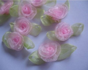 Organza Ribbon Rose Leaf Appliques set of 6