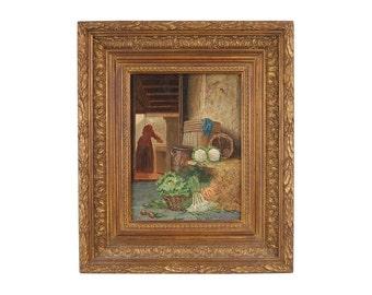 Dutch Oil Painting Kitchen Maid at Work with Vegetables Johannes Engel Masurel