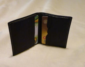 Vintage Mens Card Holder ~ Black Leather Wallet ~ Bi fold ~ ID Carrier ~ Fathers Day Gift ~