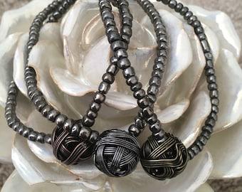 Woven metal ball bracelet - Silver Bronze Pewter
