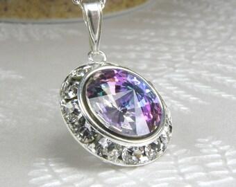 Purple Crystal Necklace, Violet Swarovski, Sterling Silver Rhinestone Pendant, Wedding Handmade Jewelry, Spring Fashion, Ready to Ship