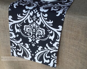 Black And White Damask Table Runner Table Centerpiece Fabric Kitchen Dining  Room Decor Linens