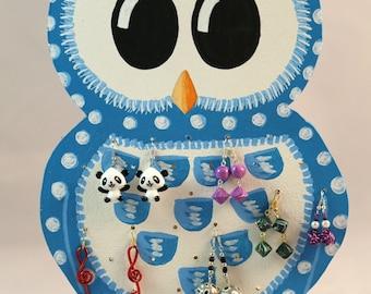 OWL jewelry wall display blue kawaii