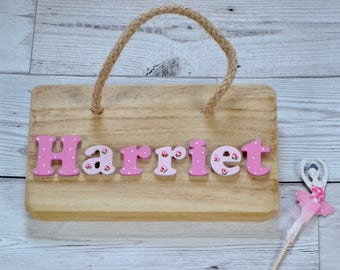 Personalised name sign nursery, Personalised Wooden Name Plaque, New Baby Gift - Rose design