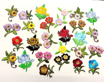 10 Iron On Stick, Sew On Fabric Flower Motifs, Craft, Sewing, Embroidery Patches