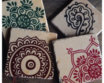 Exotic Henna stone coasters - set of 4