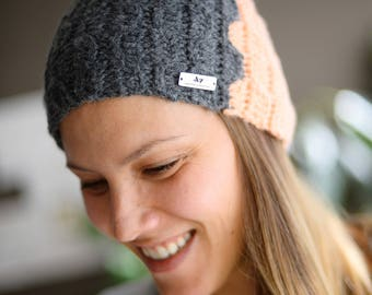 Crochet Gray&Peaches Winter Beanie, Snowboard Girls Beanie, Crochet Beanie, Handmade Winter Hat, Handmade Crochet Girls Hat