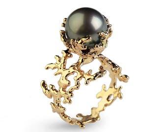 CORAL Tahitian Pearl Ring, Black Pearl Engagement Ring, Gold Pearl Engagement Ring, Gold Engagement Ring