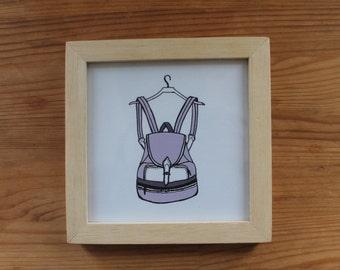 Backpack wood framed illustration