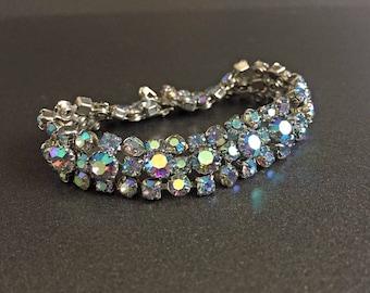 Vintage Blue Rhinestone Bracelet on Silver Tone, Formal Vintage Jewelry, Rhinestone Vintage Jewelry with Aurora Borealis, Riveted Back