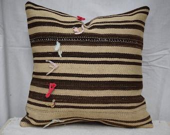 18 INC Handwoven kilim pillow cover Striped kilim pillow Bed pillow cover Sofa pillow cover Couch pillow cover Decorative pillow AG-3