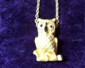 ON SALE  : Vintage Ceramic owl Necklace on Yellow chain