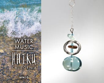 Water Music by HaikuCalifornia: Stylized seashore pendant necklace with silver chain.