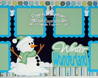 Scrapbook Page Kit Winter Wonderland 2 page Scrapbook Layout Kit 125