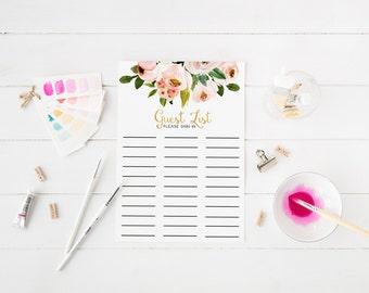 Fard à joues Rose Guest Floral liste signe en feuille Bridal Shower Guest liste bébé douche invité liste commentaires imprimable Liste feuille WP01