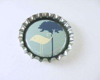 Fridge Bottle Cap Bird Magnet, kitchen decor, cute fridge magnet, blue green bird tree