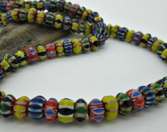 Old Nepal Glass Chevron Rondelle Beads, 10x6mm, Mixed Colors(10)