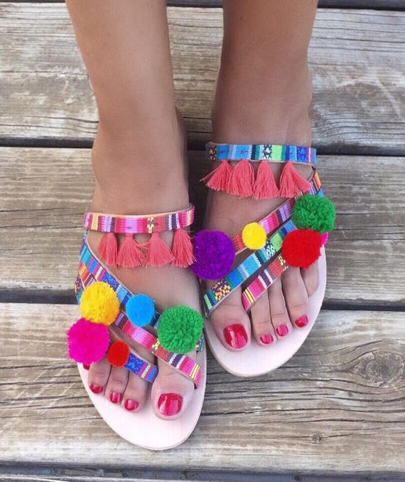 Sandals Boho ''Rainbow'' Pom Worldwide Sandals SHIPPING Greek Strappy Pom Sandals EXPRESS FREE Leather sandals 5Eq1tgSwqx