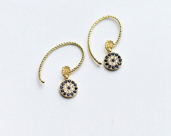 Gold & Silver Evil Eyes Earrings