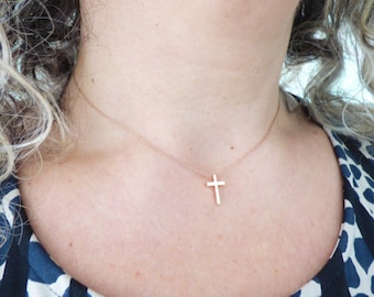 Tiny Cross Necklace, Dainty Thin Rose Gold Necklace, Delicate Everyday Necklace, Minimal Choker Necklace, Simple Minimalistic Jewelry
