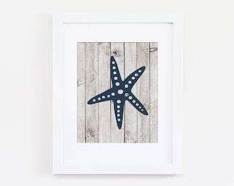Beach Home Decor, Navy Nursery Art Print, Nautical Nursery Wall Art, Starfish Art, Home Art Print, Boys Nursery Art, Instant Download