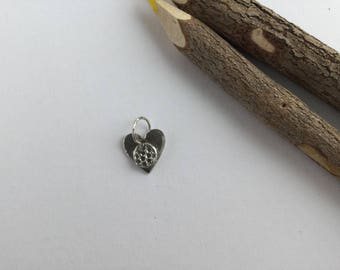 999 silver heart charm - Fine silver heart charm - Embossed charm - Ladies gift - Gift for her - Mother's day gift - Birthday gift -