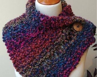 Button Wrap Cowl in Jewel Tones