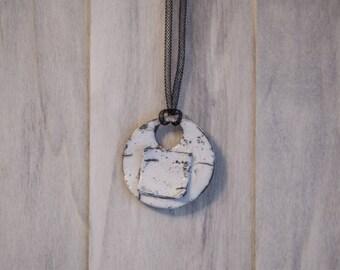 Ceramic pendant enamel raku round shape on Black mesh cord