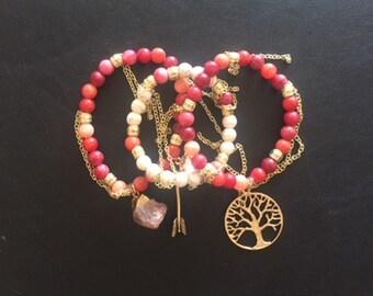 Multi Color Red and Pink Gold Bracelet Stack 2
