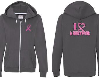 Breast Cancer Awareness Ladies Hoodie Pink Ribbon I Heart a Survivor Font & Back Print Full Zip Hoody FBIHAS-71600FL